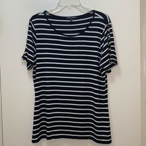 Cable & Gauge XL Black and White Striped Shirt